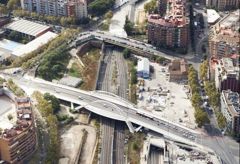 Vista aérea de la estación La Sagrera en Barcelona