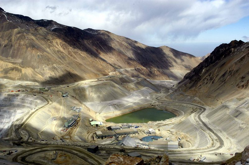 An expansive view of the los bronces mine in Chile