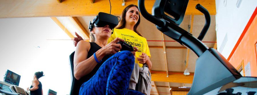 La bicicletta de realidad virtual en Inacua Málaga