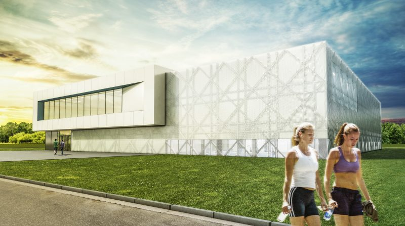 A rendering of the exterior of the new Inacua sports centre in Torrejón de Ardoz