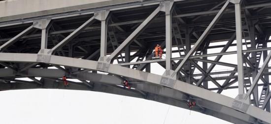 Engineers working on the Britannia bridge, Wales