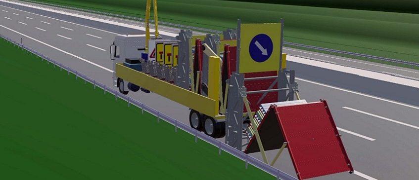 Imagen de 'Automated Lane Closure System' en el que un vehículo recoge de manera segura las señales de balizado de las carreteras