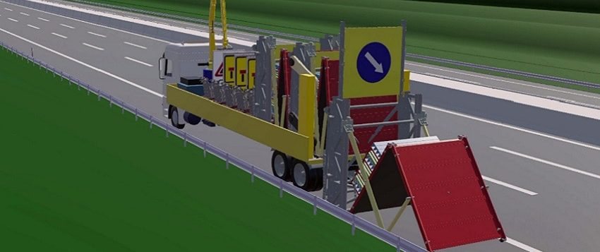 Image of 'Automated Lane Closure System' in which a vehicle safely picks up road signs