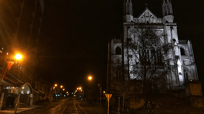 Night image of a Dunedin street, New Zealand