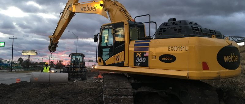 Imagen de la obra de construcción de la carretera IH35