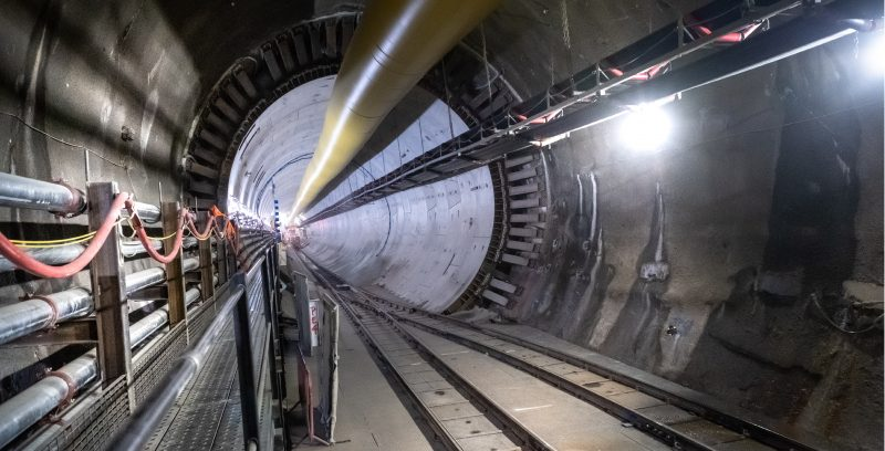 Photo of the construction of a tunnel