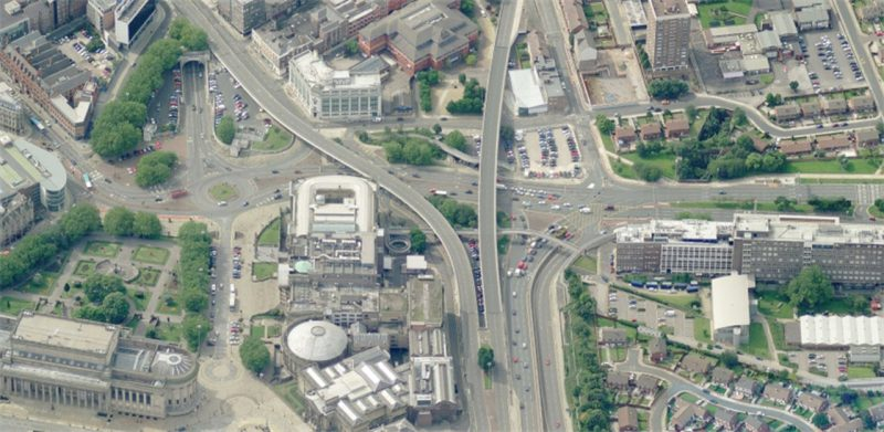 Aerial image of a crossroads with overpasses