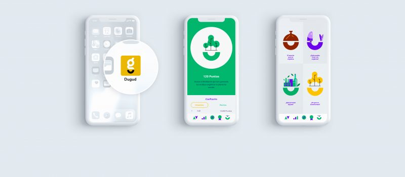 Image of 3 smartphones with the Dugud application