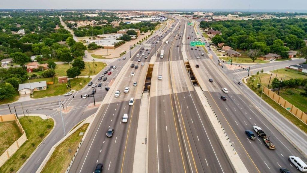 Imagen aérea de la autopista North Tarrant Express