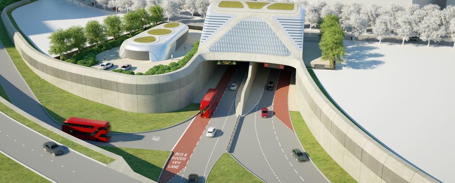 Pórtico de entrada del túnel de Silvertown en Londres
