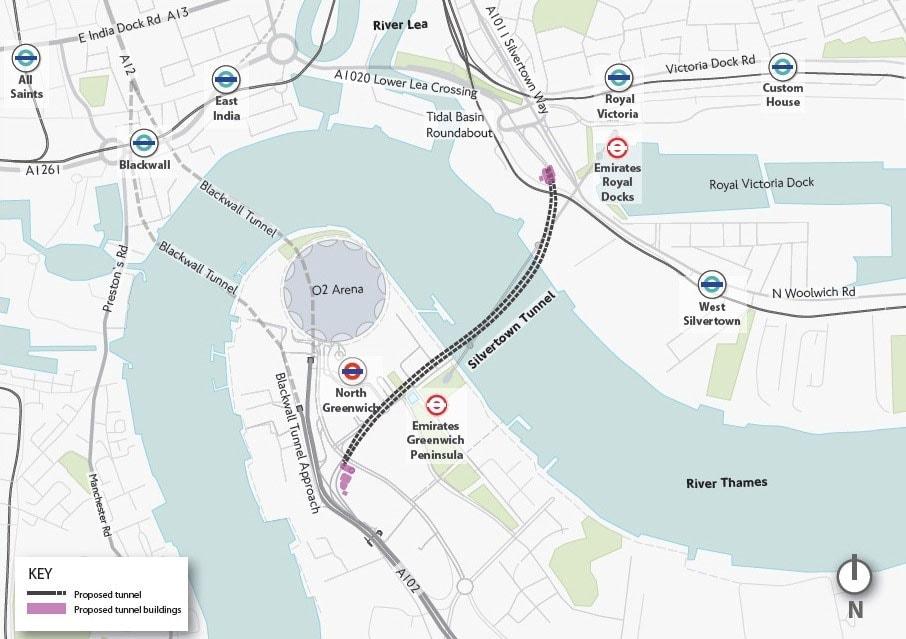 mapa del proyecto del tunel Silvertwon en Londres