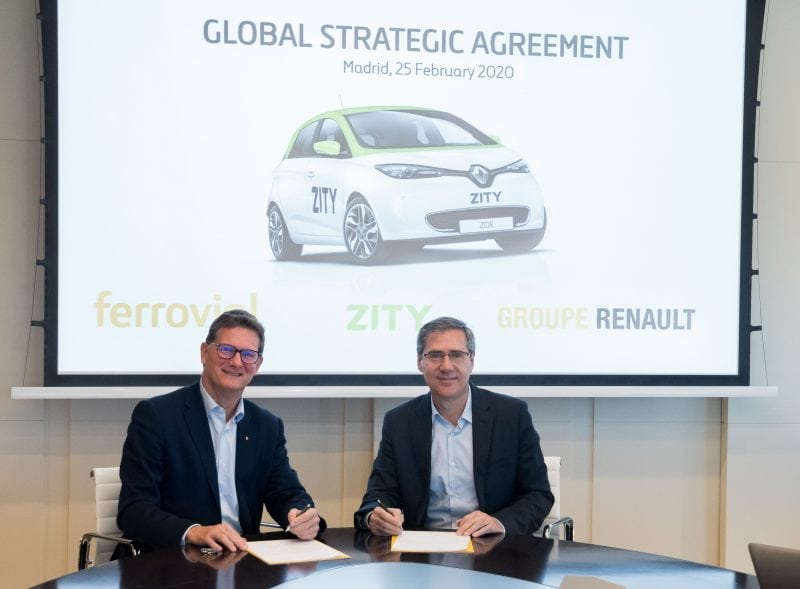 Strategic agreement of Ferrovial and Renault to expand Zity to Paris